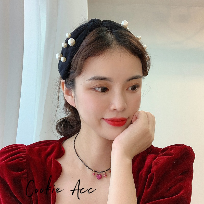 Fashion Black Pearl Large Bowknot Wide-brimmed Fabric Hair Band