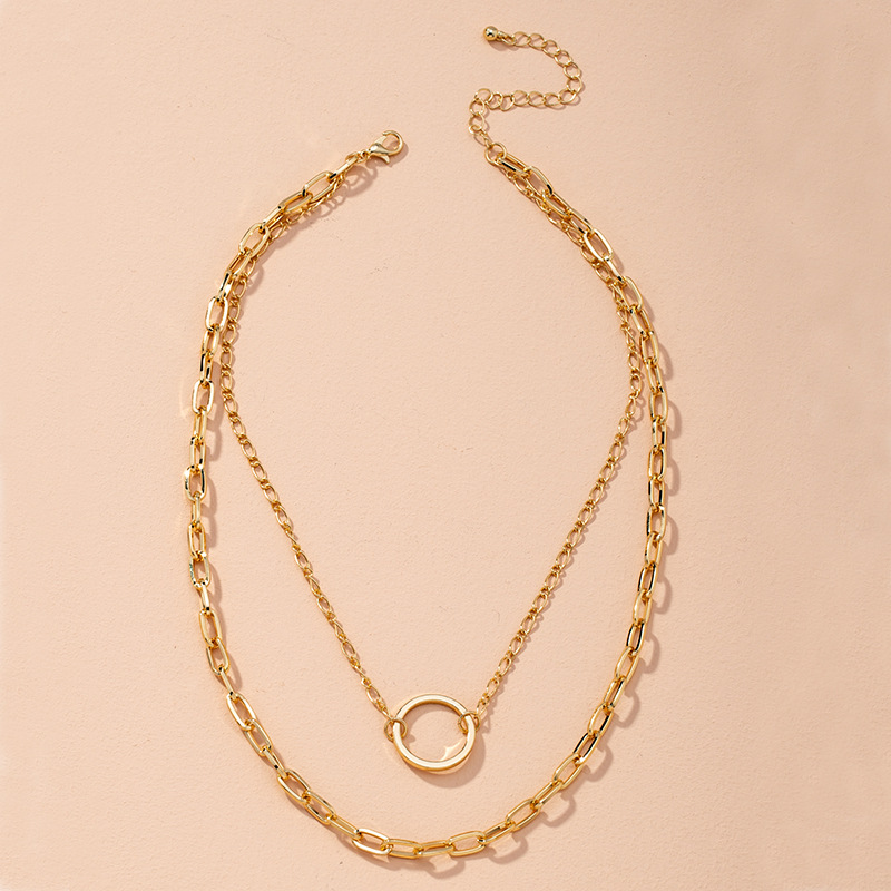womens cool and handsome style golden geometric doublelayer alloy necklace NHAI268212