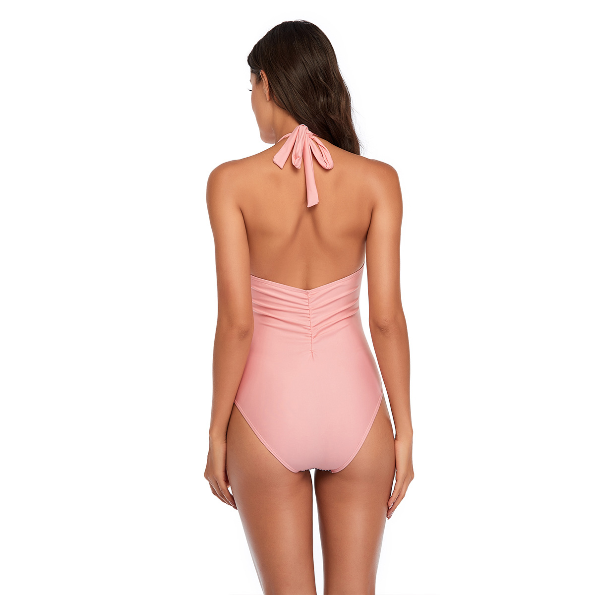 solid color striped stitching ladies swimsuit   NSHL3984