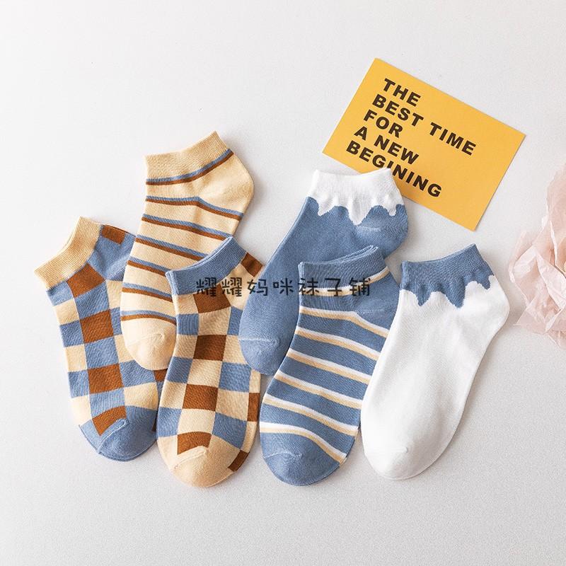 蓝色袜子日系方格子夏季短筒袜子牛奶条纹创意低腰棉蓝白PF443