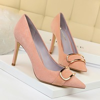 825-13 European and American women's shoes slim heel high heel suede shallow mouth pointed sexy nightclub show thin metal belt buckle single shoes