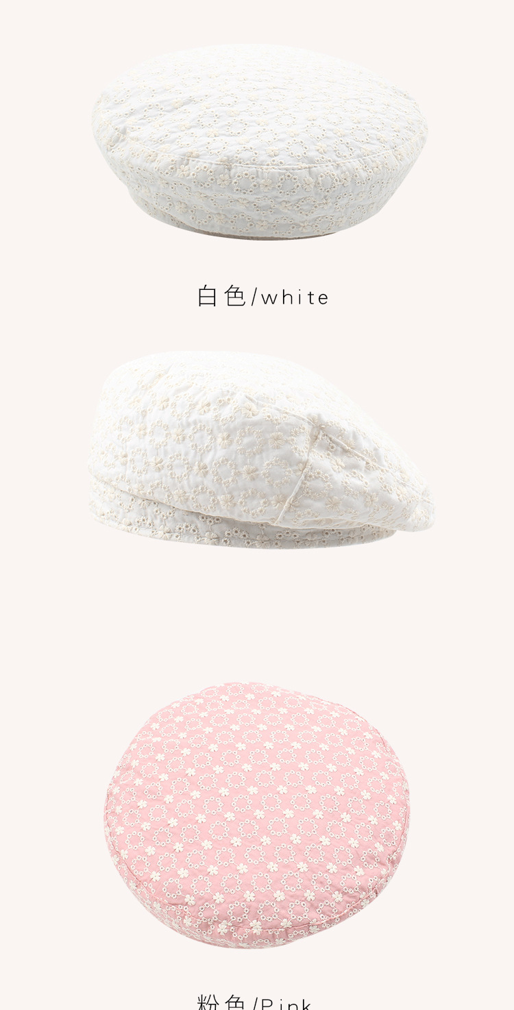 Hat summer thin section breathable painter hat embroidery flowers sweet beret wholesale nihaojewerly NHXO233434