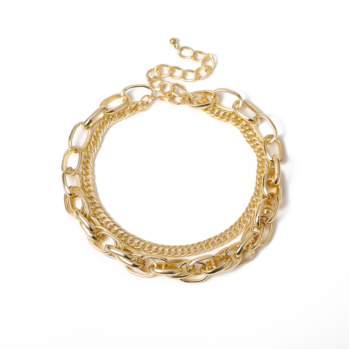 fashion trendy exaggerated hip-hop style thick chain double clavicle necklace for women NHXR245548