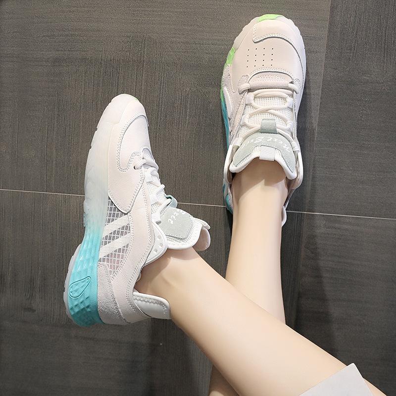 网鞋女春季新款2020女鞋休闲时尚系带透气网面鞋跑鞋老爹鞋女