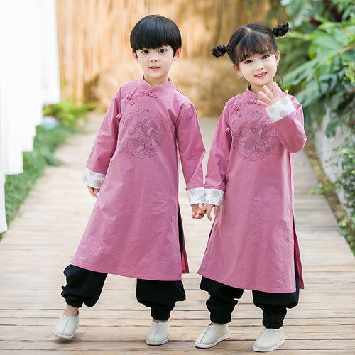 Children cross talk long gown robe boys Chinese style kungfu costumes boys girls wushu martial art taichi stage performance robe Republic of China style