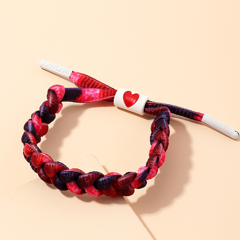 Fashion Fuchsia Love Woven Reflective Laser Luminous Bracelet