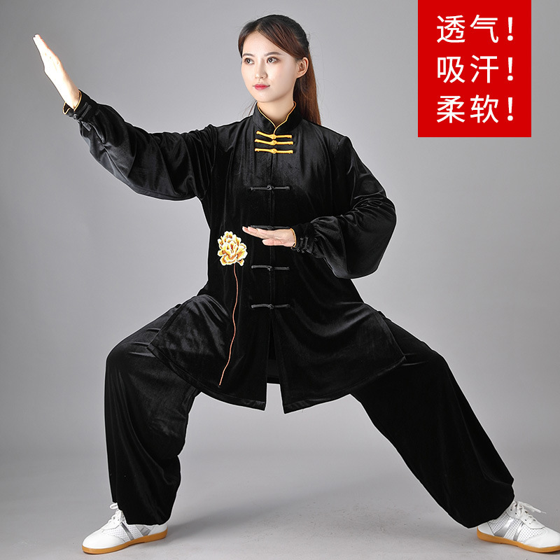 Velvet Tai Chi suit  wushu kung fu suit women autumn and winter martial arts performance clothing women warm velvet Tai Chi suit women