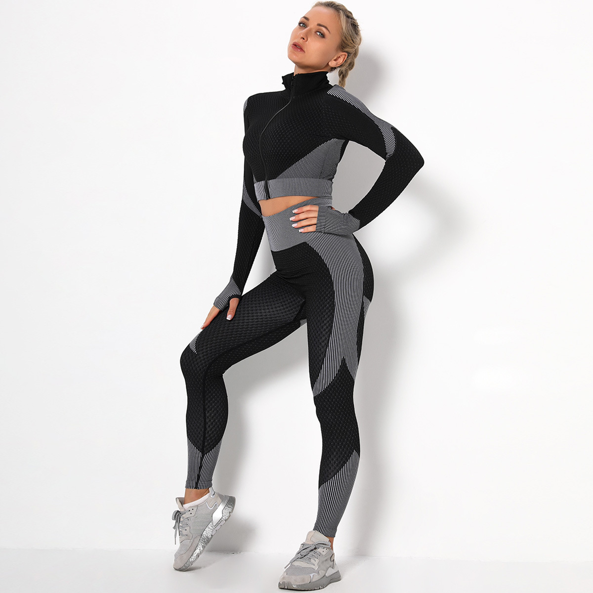 seamless knitted jacquard hip fitness suit  NSLX9014