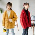 13229女童外套 2020秋冬韩版粗针加厚针织衫毛衣羊毛衫中大童开衫