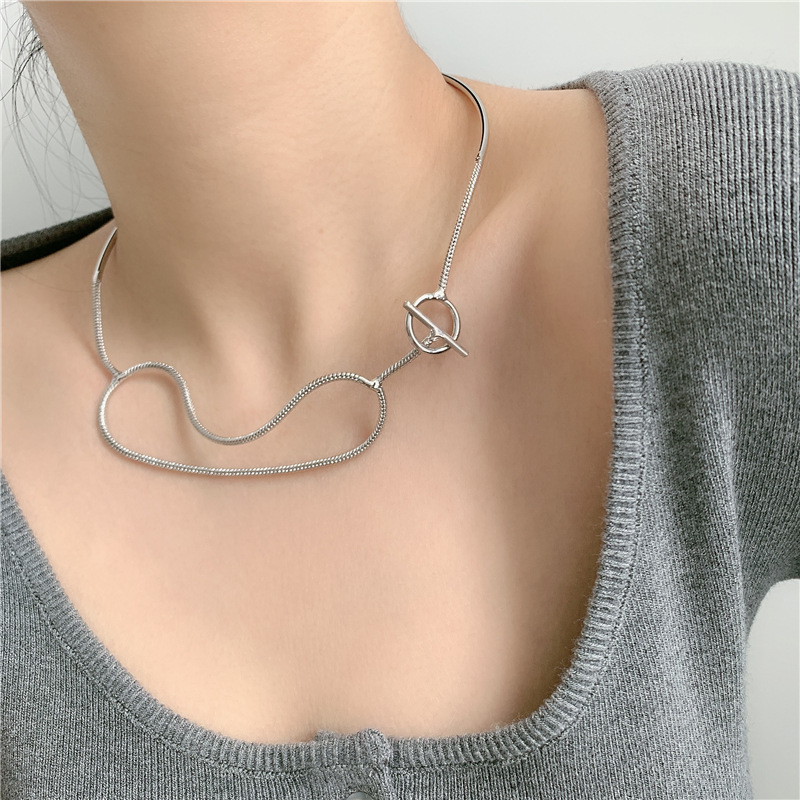 metal OT buckle  clavicle  necklace NHYQ265186