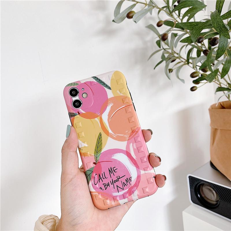 Peach Apple 11Pro Max all-inclusive camera rivet phone case for 8plus protection se2 XR  NHFI247532