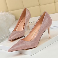1853-A5 han edition sexy high-heeled shoes with high metal party with shallow pointed mouth shining sequins cloth women's shoes