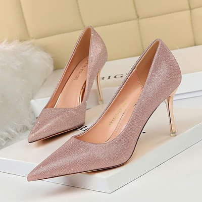1853-A5 han edition sexy high-heeled shoes with high metal party with shallow pointed mouth shining sequins cloth