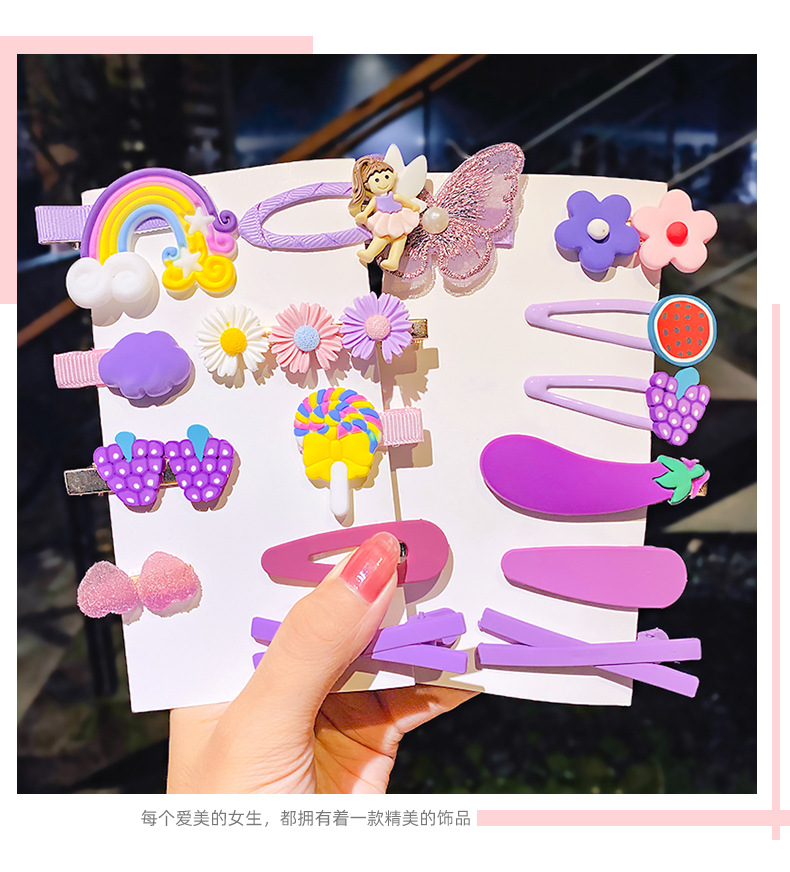 Korean  children's hair clip head rope set candy color hairpin side clip duckbill clip wholesale nihaojewelry NHNA239515