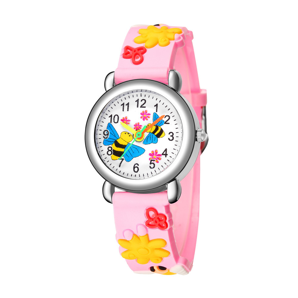Cute bee flower pattern plastic band quartz watch printed color band female student children watch NHSS200494