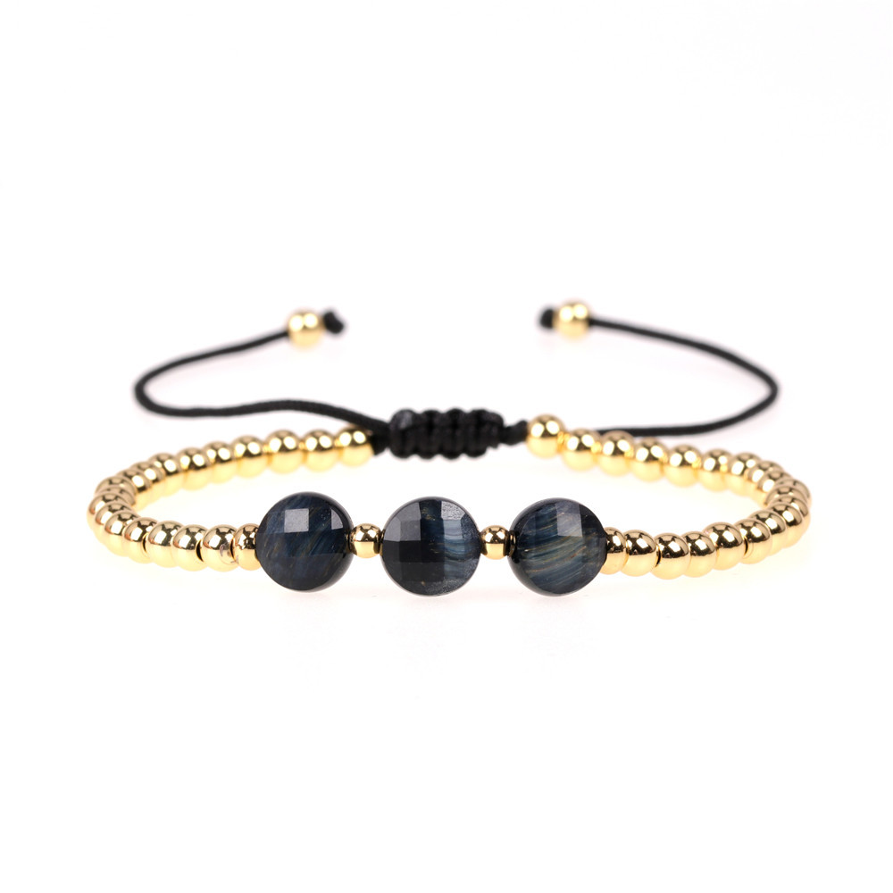Popular personality new hand jewelry faceted natural stone woven bracelet copper plated color-protected gold bead bracelet NHPY201000