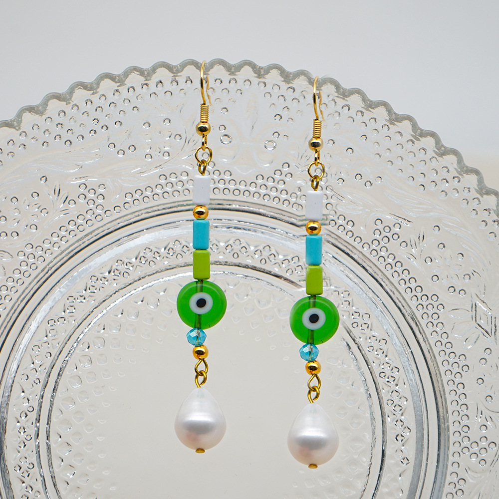 Bohemian Colored Glass Evil Eye Pearls Baroque Pearl Earrings for Women Wholesale NHGW210666