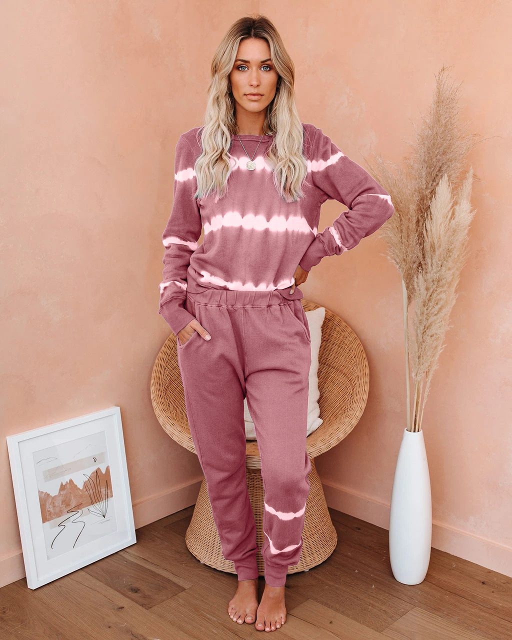 autumn and winter new pair of striped tie-dye gradient color pajamas suit NSYF842