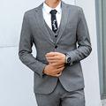 灰人字纹西服男两粒扣单衩商务休闲条纹韩版修身时尚潮西装blazer
