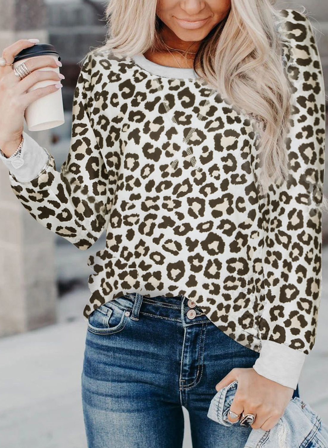leopard print women's autumn new stitching round neck long-sleeved casual pullover t-shirt  NSSI2329