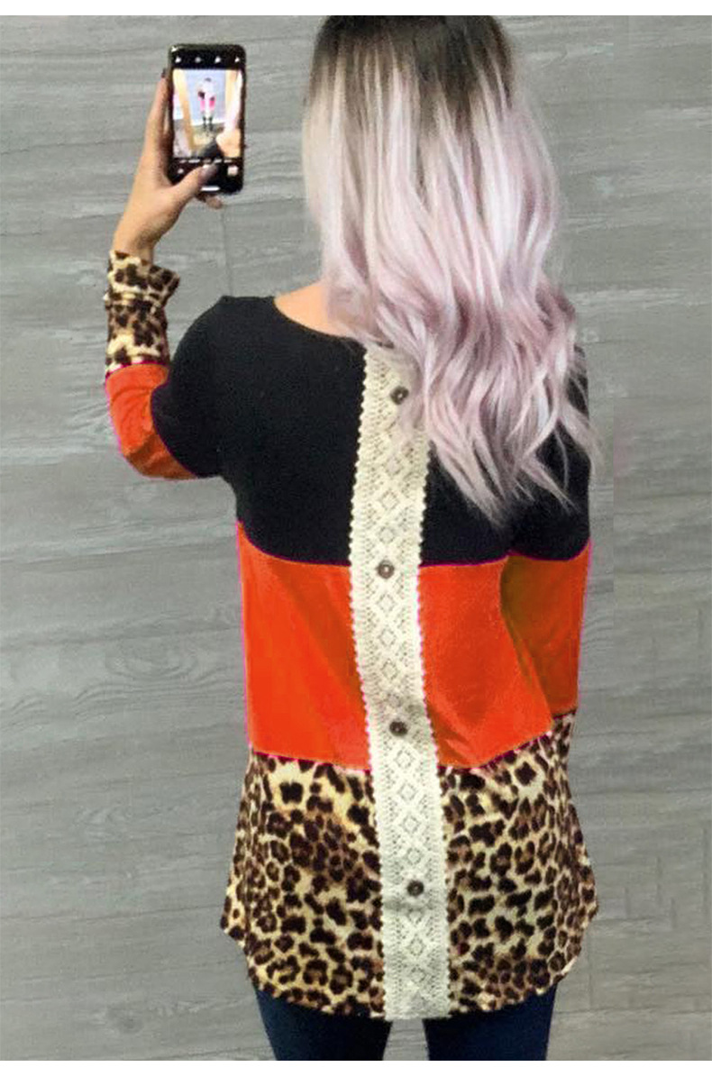 long-sleeved leopard-print lace stitching fashion street style round neck women's t-shirt NSSI2471