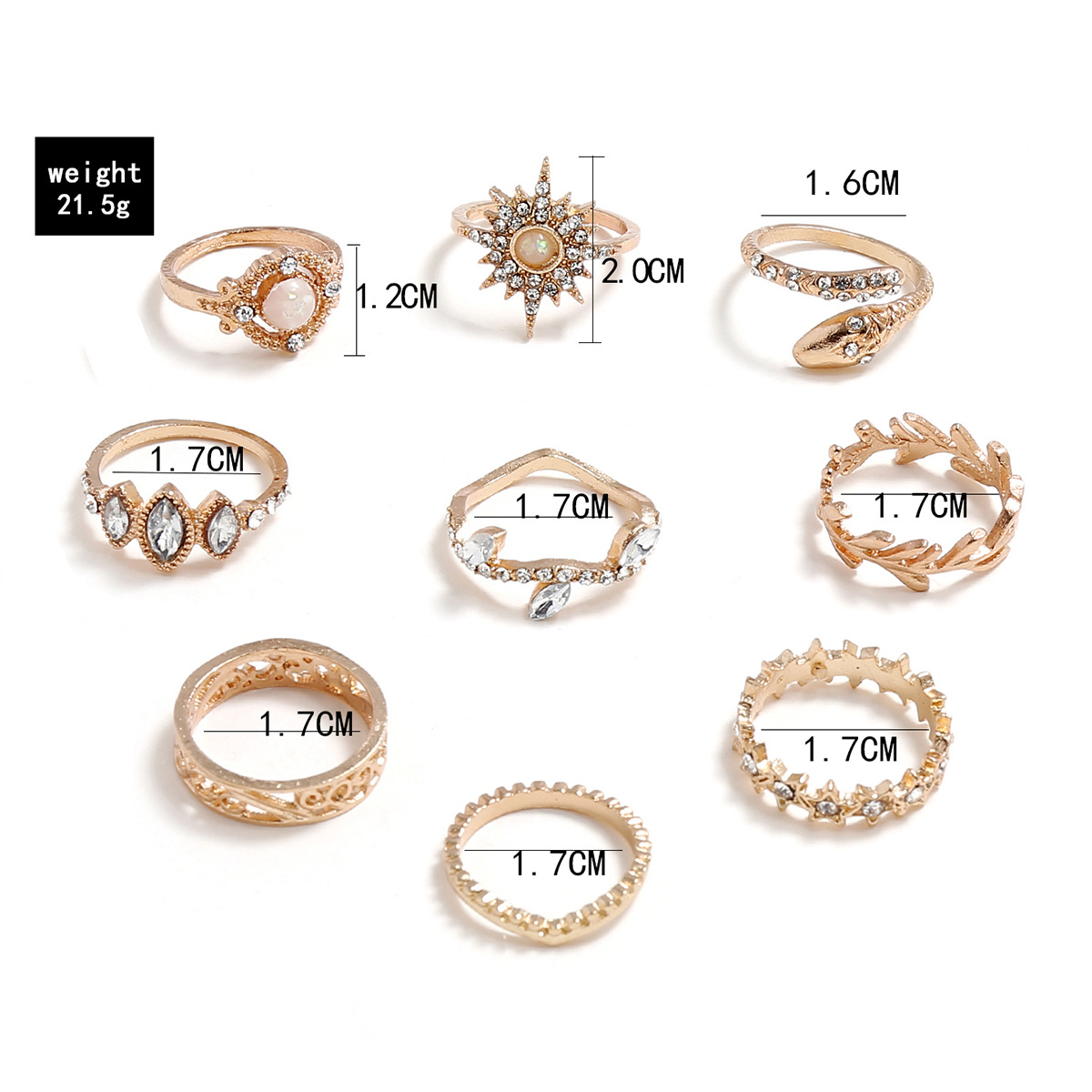 V-shaped diamond snake star five-pointed star six-pointed star carved leaves branches nine-piece ring set NHPV205113
