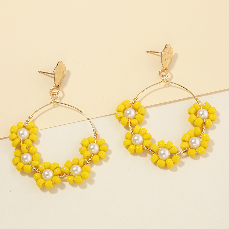 Spring new fashion candy-colored rice beads earrings colored flowers earrings NHNZ213255