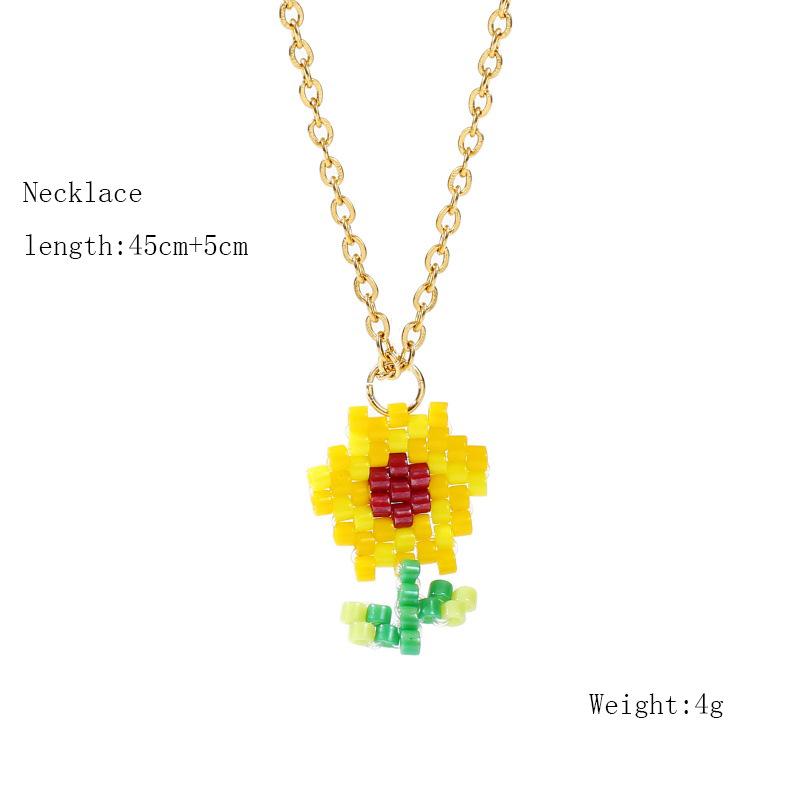 Korean cute hand-woven sunflower necklace  wholesale NHLA257210