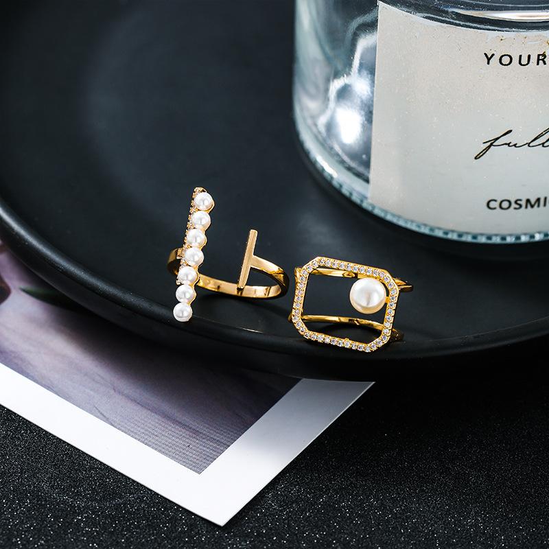 极简风设计感戒指微镶锆石镂空方形珍珠指环一字形几何珍珠食指戒