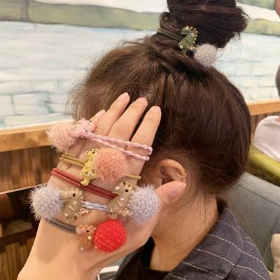 货源少女发绳毛绒毛毛球ins网红头绳韩版可爱小恐龙发圈橡皮筋头饰女批发