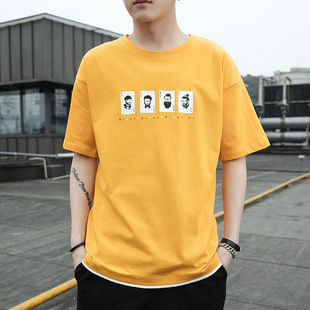 Men's short-sleeved T-shirt 2021 summer new Korean version of pure loose cotton bottoming shirt t-shirt top clothes casual men's clothing trend