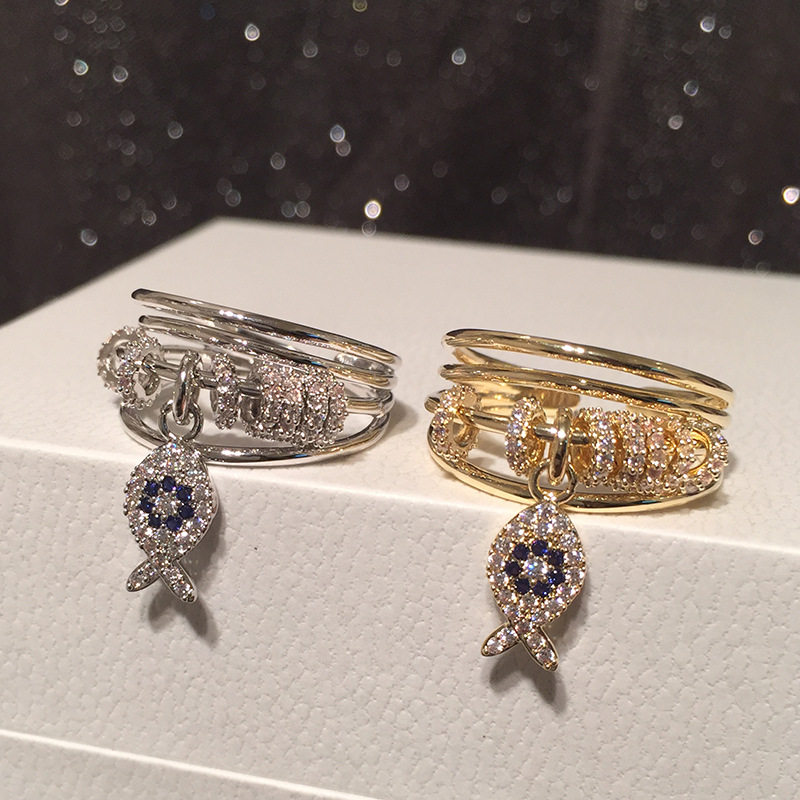 Small fish ring female summer seaside vacation style light luxury micro-inlaid zircon multilayer transfer ring index finger ring female NHWK206130