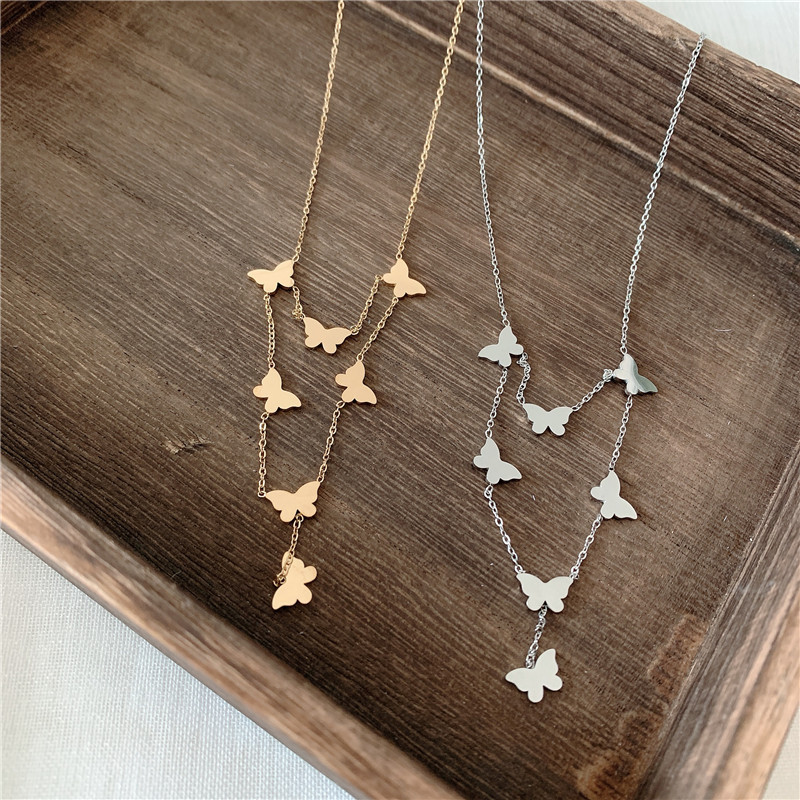 Korea fairy wild hollow butterfly pearl necklace  NHYQ256554