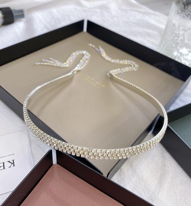 Vintage rhinestone headband Korean tassel steel ring Baroque bride thin headband princess girl hair cave wholesale nihaojewelry NHSM222231