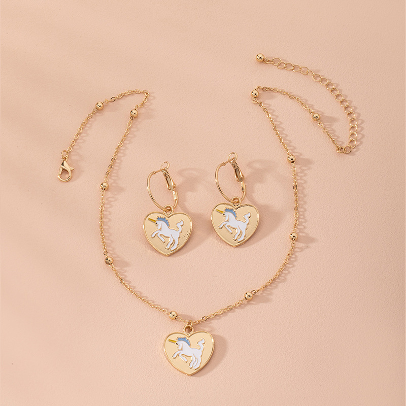 new fashion cartoon unicorn alloy necklace earrings set wholesale  NHAI248065