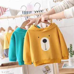 2020 autumn and winter new children's velvet sweater, small and medium-sized children's Korean hooded pullover manufacturers low-priced sources