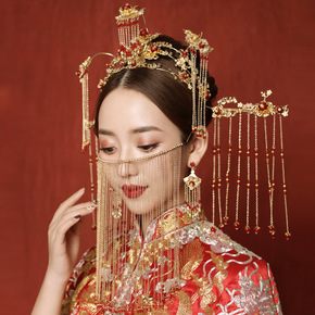 Chinese bridal headdress Ancient Chinese Wedding Hair Ornament with Phoenix Crown Hanfu ancient costume dragon and phoenix gown headdress