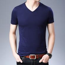 男士短袖T恤中年商務休閑T桖中年夏季V領t恤打底男裝透氣體恤上衣