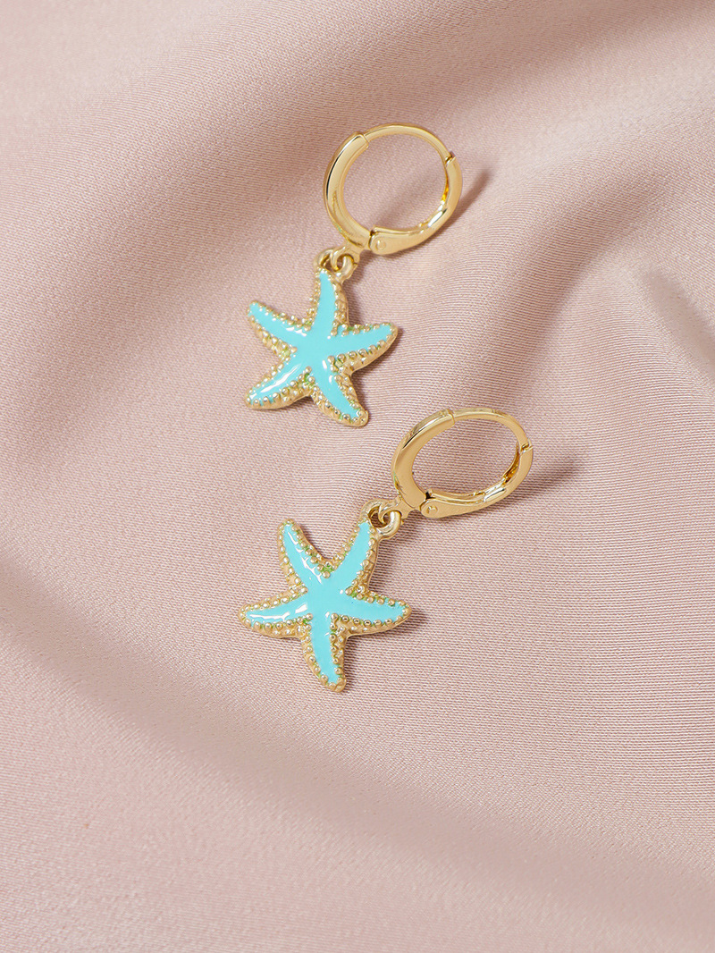 Fashion cute dripping oil starfish earrings and necklace set NHGU252041