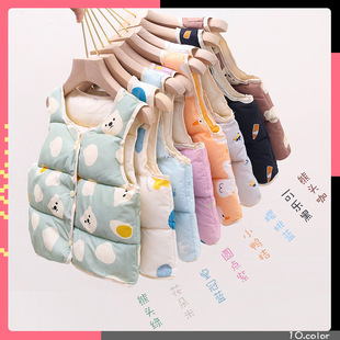 2020 autumn and winter new children's down cotton vest wholesale young children's baby cotton vest inner and outer wear one generation