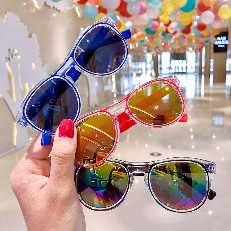 New childrens cartoon sunglasses shade sunscreen sunscreen simple candy color girls baby glasses toys NHNA230069
