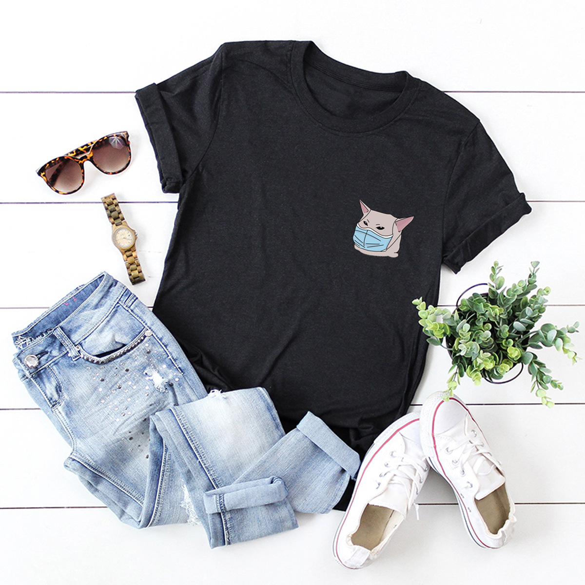 casual paparazzi short-sleeved female T-shirt NSSN1805