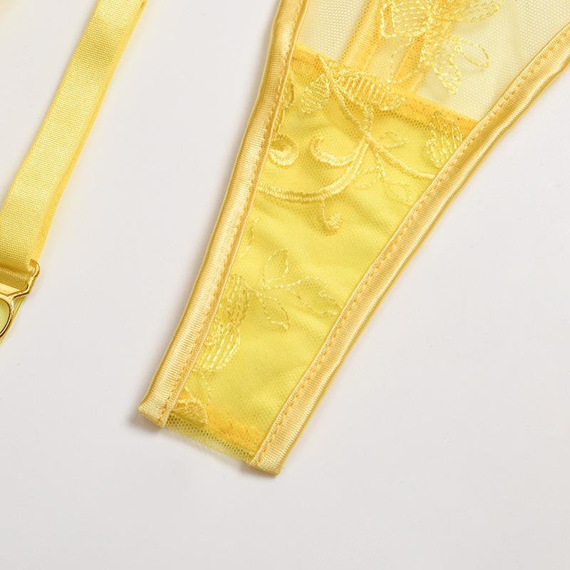 Solid color mesh garter lingerie set NSWY45243