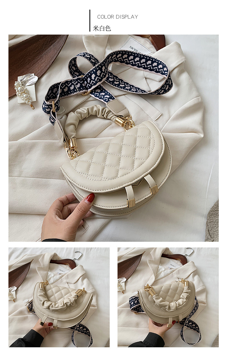 New Trendy Korean Version Allmatch Messenger Fashion Lingge Chain Shoulder womens Saddle Bag NHJZ247823