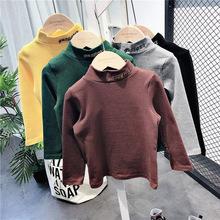 儿童宝宝秋冬上衣男童女童加厚加绒高领长袖T恤衫小童保暖打底衫
