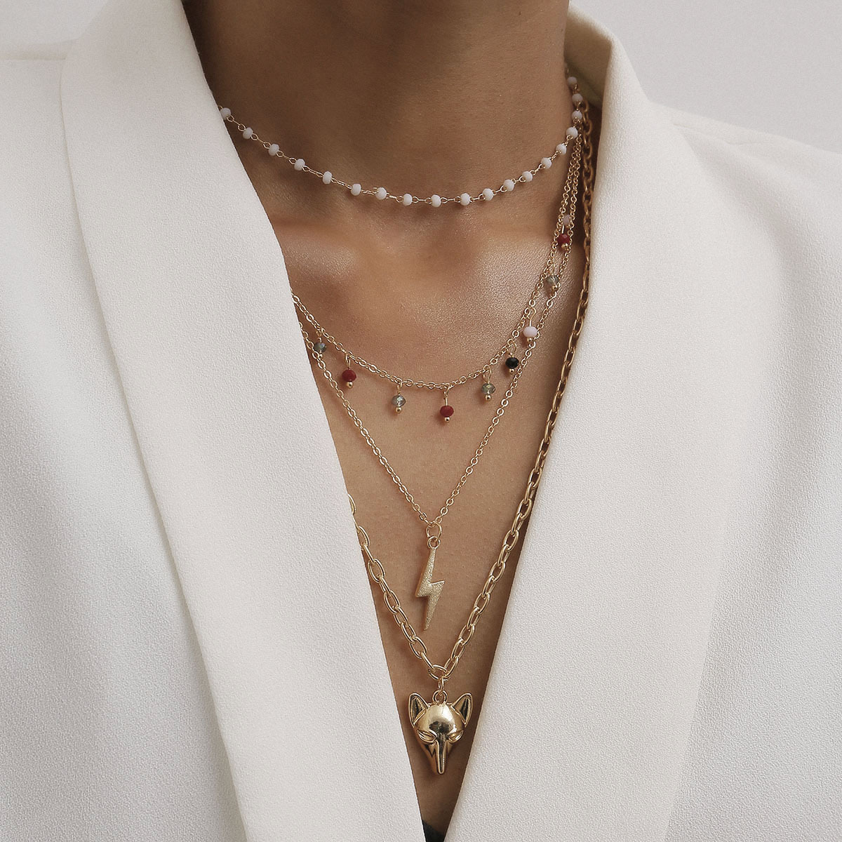 New fashion tassel round bead multi-layer necklace fox three-dimensional lightning pendant necklace wholesale NHXR210591