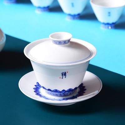 货源景德镇手工茶碗 大号青花陶瓷三才盖碗 甜白瓷功夫茶具茶杯泡茶碗批发