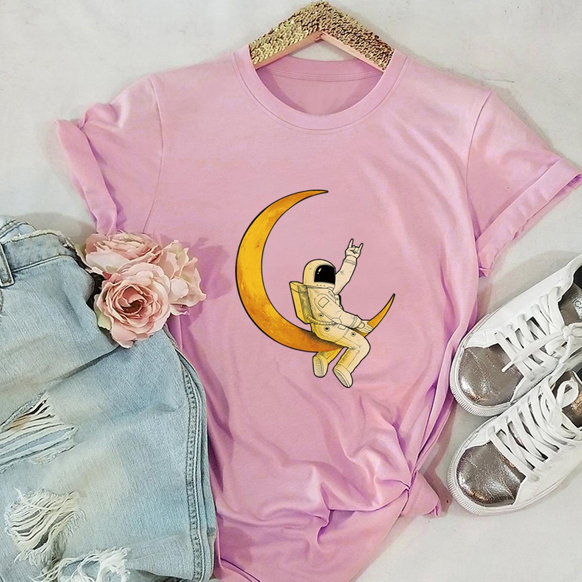 astronaut star print cotton short-sleeved t-shirt women NSSN2682