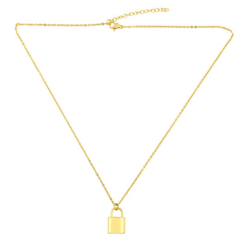 new fashion lock pendant jewelry copper clavicle chain necklace for women NHAS241660