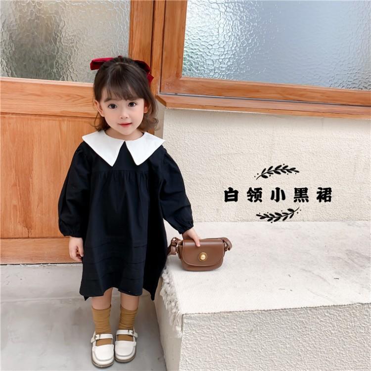 韩国代购款白领小黑裙2020秋冬新款尖领女中小童儿童裙子代发